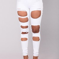 Amina Distress Jeans - White