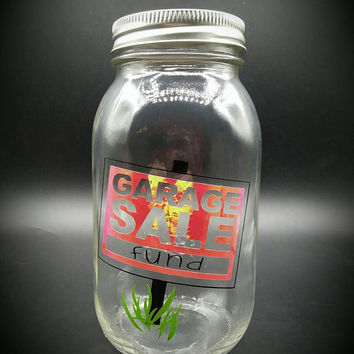 Garage Sale Savings Coin Jar Mason Jar Piggy Bank Vinyl Decal Black Holographic Vinyl