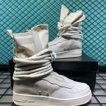 Nike SF AF1 Mid Hollow For Women Men Casual Skate Shoes White