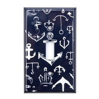 Anchor Print Light Switch Plate | Icing