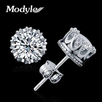 Modyle Fashion Jewelry 8MM Round 2 Carat Cubic Zirconia Silver Plated Stud Earrings for Women