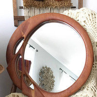 Modern Sculpted Wood Mirror, Unique 16 inch Round Wall Mirror, Carved Wooden Hanging Mirror