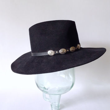79c6922d4cfcb Black Cowboy Hat - Stetson - Silver Conchos - Crease Crown Wide