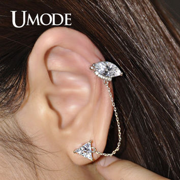 UMODE Stunning Ear Cartilage Piercing Stud Earring of Triangle Marquise Cut Cubic Zirconia Ear Cuffs White Gold Color UE0156