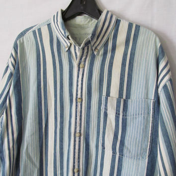 90s Mens Shirt Blue Striped Mens Striped Oxford Shirt Blue White Long Sleeves Casual Mens Shirt Blue Jean Shirt