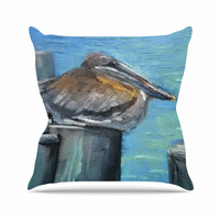 "Carol Schiff ""Hunkered Down"" Blue Gray Throw Pillow"