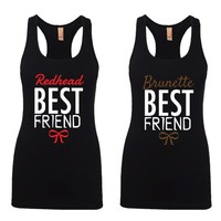Brunette and Redhead Best Friends Girl BFFS Jersey Racerback Tank Tops