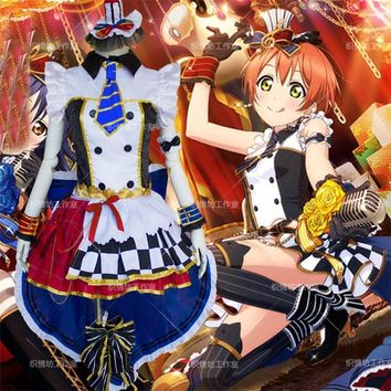 LoveLive! Coffee Shop Hoshizora Rin Cosplay Costume Love Live Cafe maid Uniform Suit  Japanese Anime Clothes Dress & Headwear