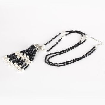 Bohemia Boho Classic Black Glass White Pearl Beads Tassel Vintage Silver Color Cap Chain Long Tassel Pendant Necklace for Women