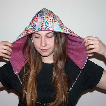 Festival hood - reversible with interchangeable chain - Technicolour Beat
