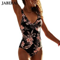 JABERAI Falbala One Piece Swimsuit Women Ruffle Floral Print Swimwear Backless Monokini Retro Swim Suit Bathing Suit Bodysuit