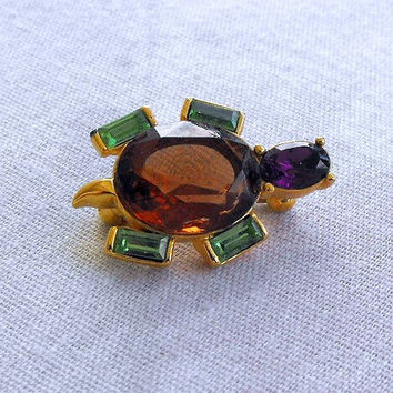 Joan Rivers Tiny Turtle Pin Green Amethyst Rhinestones