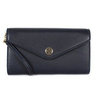 Tory Burch Landon Pebbled Expandable Crossbody Shoulder Clutch (Tory Navy)