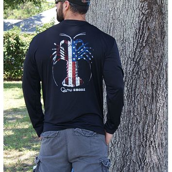 American Flag Spiny Lobster Black UPF Long Sleeve Shirt