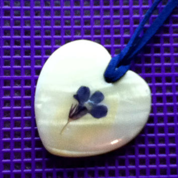 Heart Shape Mother-of-Pearl or Faux MOP Pendant  on Cobalt Sapphire Suede or Ultrasuede Cord Necklace Purple Blue Flower Focal Point