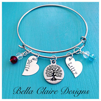 Mom bangle bracelet, adjustable mothers personalized bracelet, grandmothers bracelet, mothers love bracelet, tree if life bangle, tree of li