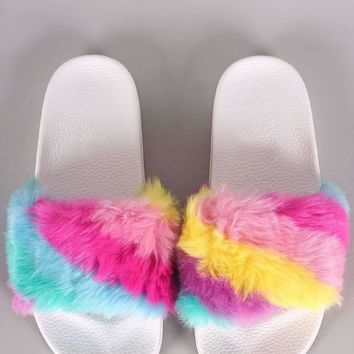 Rainbow Faux Fur Slide