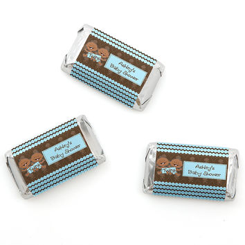 Twin Modern Baby Boys African American - Personalized Baby Shower Mini Candy Bar Wrapper Favors - 20 ct