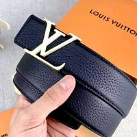 Free shipping-LV lychee classic letter buckle belt