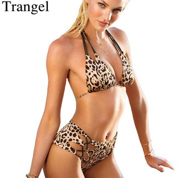 sexy bikinis women swimming suit padded swimwear Leopard print bikini set halter top swimsuit vintage bathing suit