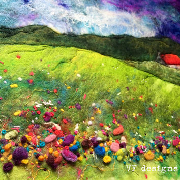 Handmade vibrant wet felt and textural embroidery. One of a kind original, cottage in a colourful meadow. Scenery