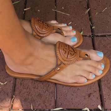 Tory Burch Inspired Sandals - Tan