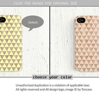 iPhone 5 case triangle iPhone 4 case geometric iPhone 4s case wood print iphone 4 case pink iphone 5 case yellow lemon cute /c186