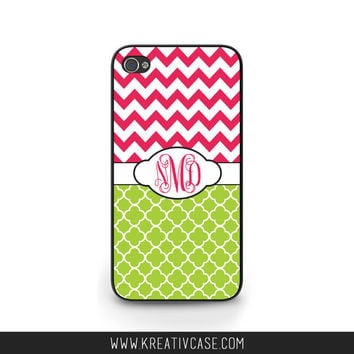 Monogrammed iPhone Case, iPhone 4, iPhone 4s, Trellis, Quatrefoil, iPhone Case, Personalized Samsung Cover - K307