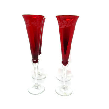 Vintage LENOX Crystal Ruby Red Etched Champagne Flutes    Set of 4 Lenox Toast Glasses Made Czech Republic