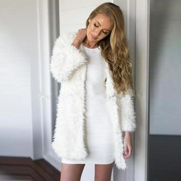 AREALNA Winter Women White Faux Fur Coat Long Sleeve jacket Women coat V-Neck No-Button Vintage Warm Faux lambswool Jackets S-XL