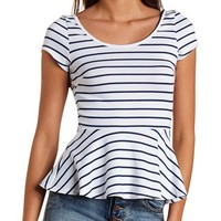 BOW-BACK STRIPED PEPLUM TOP