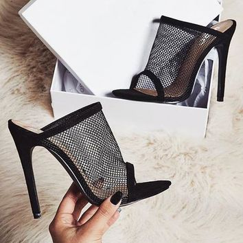 Fashion ladies sandals new fishmouth mesh sexy high heels