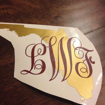 Florida, Texas, Georgia, Virginia, North Carolina, Any State Monogram Vinyl Decal-2 Colors, Any State, Game Day, Yeti Decals