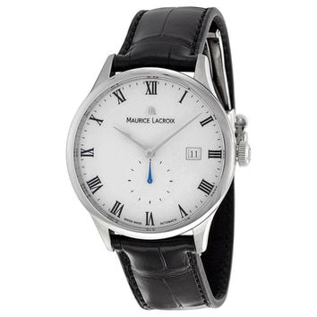 Maurice Lacroix Masterpiece White Dial Black Leather Mens Watch MP6907-SS001-112