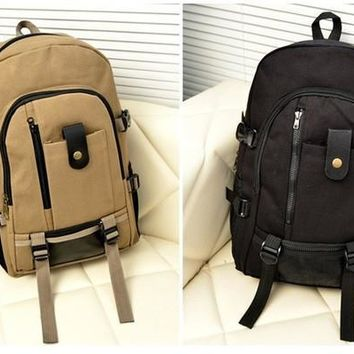 Fashion Korean Unisex Large Capacity Casual Canvas Shoulders Bag Backpack Schoolbag Bookbag [8081693895]