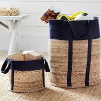 Navy Woven Jute Baskets | Pottery Barn Kids