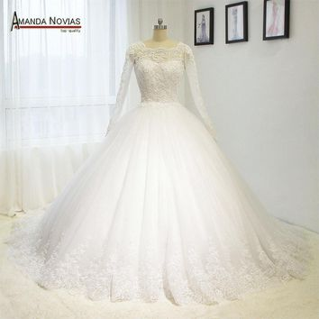 2017 hot sale robe de mariee Full Sleeve Lace Appliques Open Back Puffy Ball Gown Wedding Dress