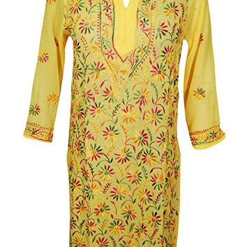 Mogul Interior Womens Tunic Dresses Sheer Georgette Embroidered Coverup S/M (Lemon Yellow): Amazon.ca: Clothing & Accessories
