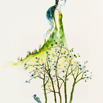 Serenity - Art Print lady dryad tree spirit woman heron fashion design sketch home decor ideas wall watercolor painting Oladesign 11x14