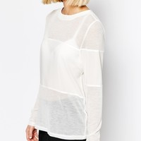 Selected Kayla Long Sleeve Top With Sheer Inserts