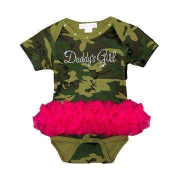 Daddy's Gir Camo Bodysuit with Hot Pink Tutu FREE SHIPPING camo bodysuit baby girl shower gift new take home from hospital outfit girl camo