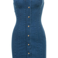 'Sweetly' Blue Denim Strapless Mini Dress - Mistress Rocks