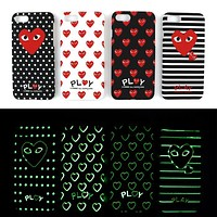 """Comme des garçon play"" Stylish Cute Heart Pattern Grind Arenaceous Luminous Pattern iPhone Phone Cover Case For iphone 6 6s 6plus 6s-plus 7 7plus iPhone 8 8 Plus iPhone X I13219-1"