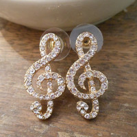 Music Note Earrings - Rhinestone Music Note Earrings