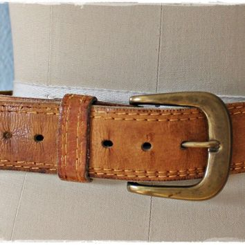 Vintage 1970s Brass Buckle + Leather Belt