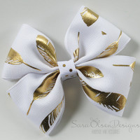 Stacked Tuxedo Hairbow, Metallic Gold White, Feather Hairbow, 3.5 Inch Bow, Girls Hairbow, Toddler Hairbow, Boutque Hairbow, Bows, Bow