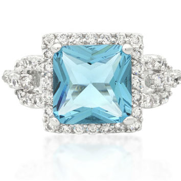 Kara Aqua Blue Princess Cut Halo Cocktail Ring | 7ct | Cubic Zirconia | Silver
