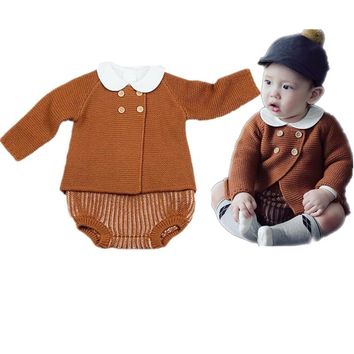 Baby Autumn Winter Clothes Sets Cute Cardigan For Toddler Girls Kids 2pcs