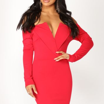 State The Obvious Off Shoulder Dress - Red