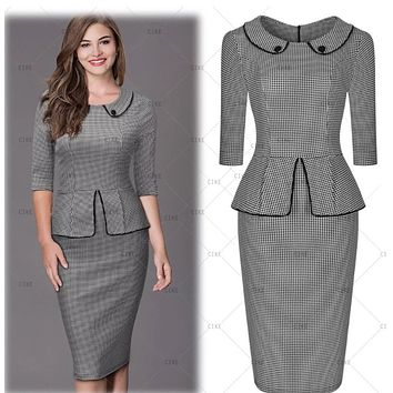 ✨ Tunic Checkered Pencil Dress, US Sizes 4 - 16